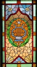 harp stained glass window