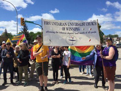 uu banner in pride parade