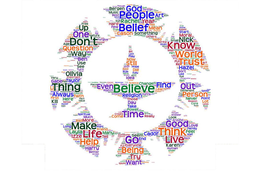 chalice wordcloud illustration with words like believe, people, better, make life better
