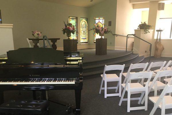 grand piano in sanctuary