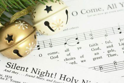 Silent Night sheet music and jingle bell
