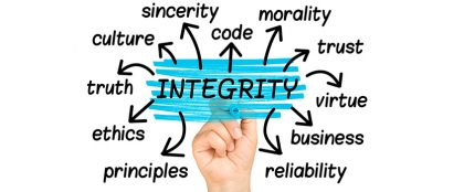 integrity with other words: sincerity, code, moral, principles, reliability