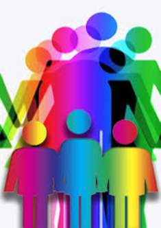 conceptual drawing of many people in community