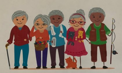 cartoon of older people