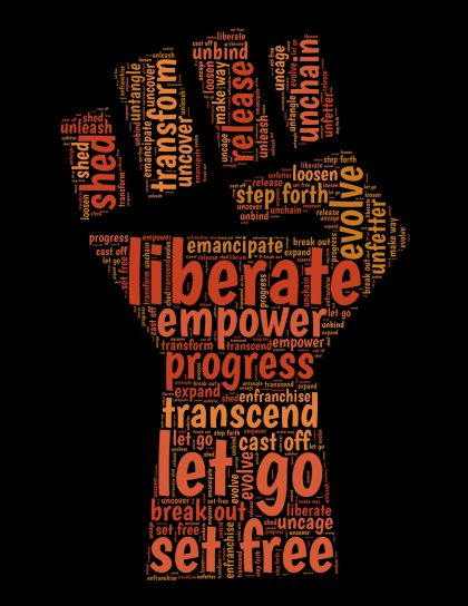 word cloud in shape of black lives matter fist, liberate, empower, progress, transcend, let go
