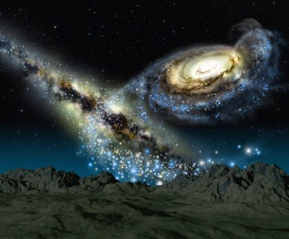 milky way and M1 in the night sky of the future