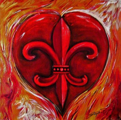painting by Stephen Broussard of heart and fleur de lis