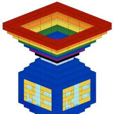 A graphic of a chalice made out of rainbow-coloured LEGO bricks