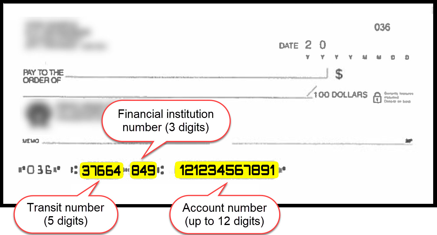 cheque with transit, financial institution, and account numbers
