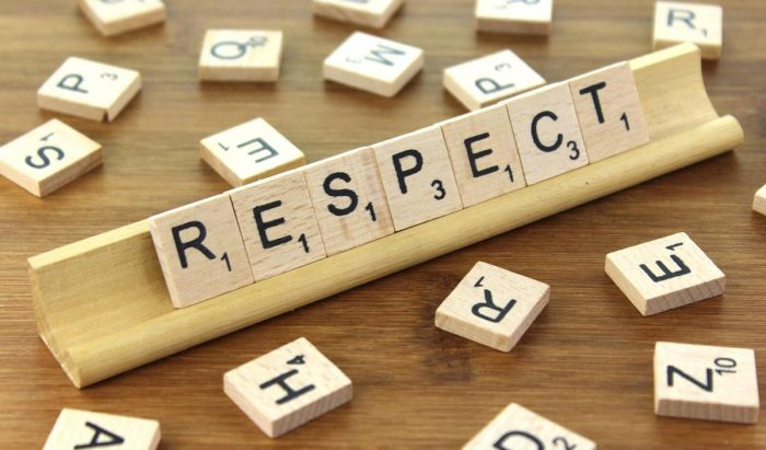 The word respect spelled out in a tile letter game
