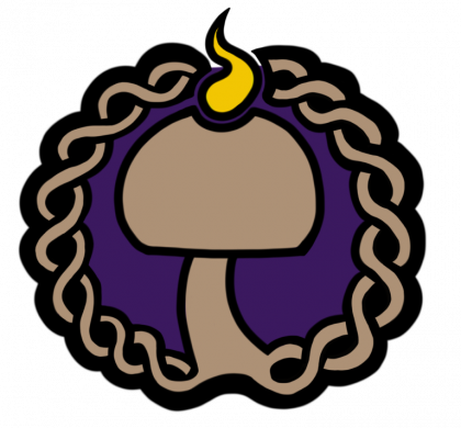 A brown mushroom inside a circle of woven branches. The mushroom is lit, like a chalice.