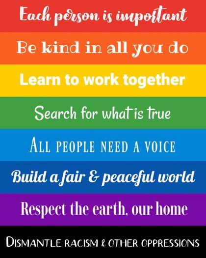 8 UU principles on a rainbow background