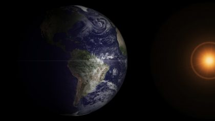 photo taken by GOES satellite of the earth and sun at spring equinox
